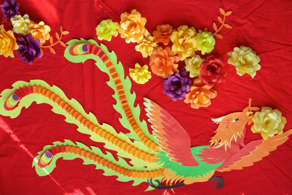 Phoenix, red, flowers